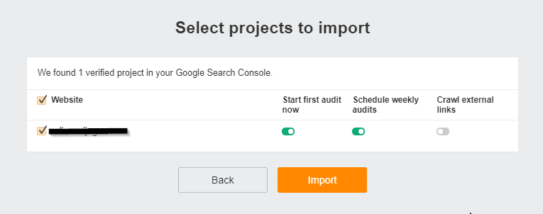 Ahrefs Webmaster Tools Select Projects