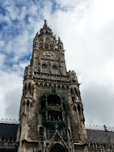 Photo: New town hall: constructed between 1867-1908, with 40 statues of royalty rather than civic leaders. One of the few buildings to survive the bombing, it served as the US military HQ in 1945. Glockenspiel/jousts (daily at 11 & 12) recall a noble wedding that took place here the 1500's, between a Bavarian groom's family and his French bride's relatives.