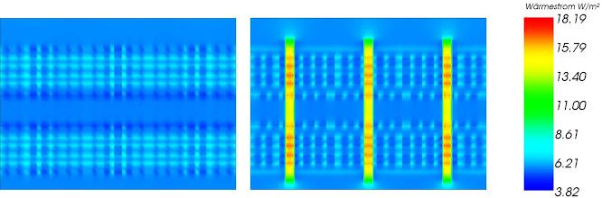 """Photo: Im folgenden Wärmestrombild ist ersichtlich, dass die höhere Wärmeleitfähigkeit (in Faserrichtung) der Buchenholzdübel kleine Wärmebrücken verursacht. Wärmestrombild von """"Holz100"""", Schnitt neben und durch die Buchenholzdübel"""