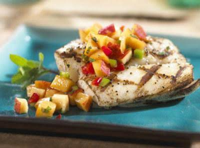 Grilled Fish With Nectarine Mint Salsa Recipe