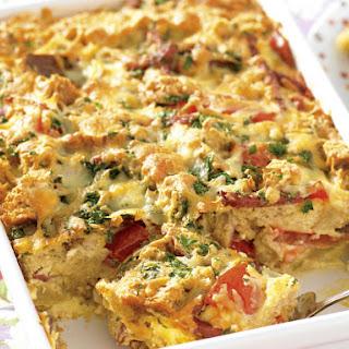Cheese, Salami and Tomato Strata