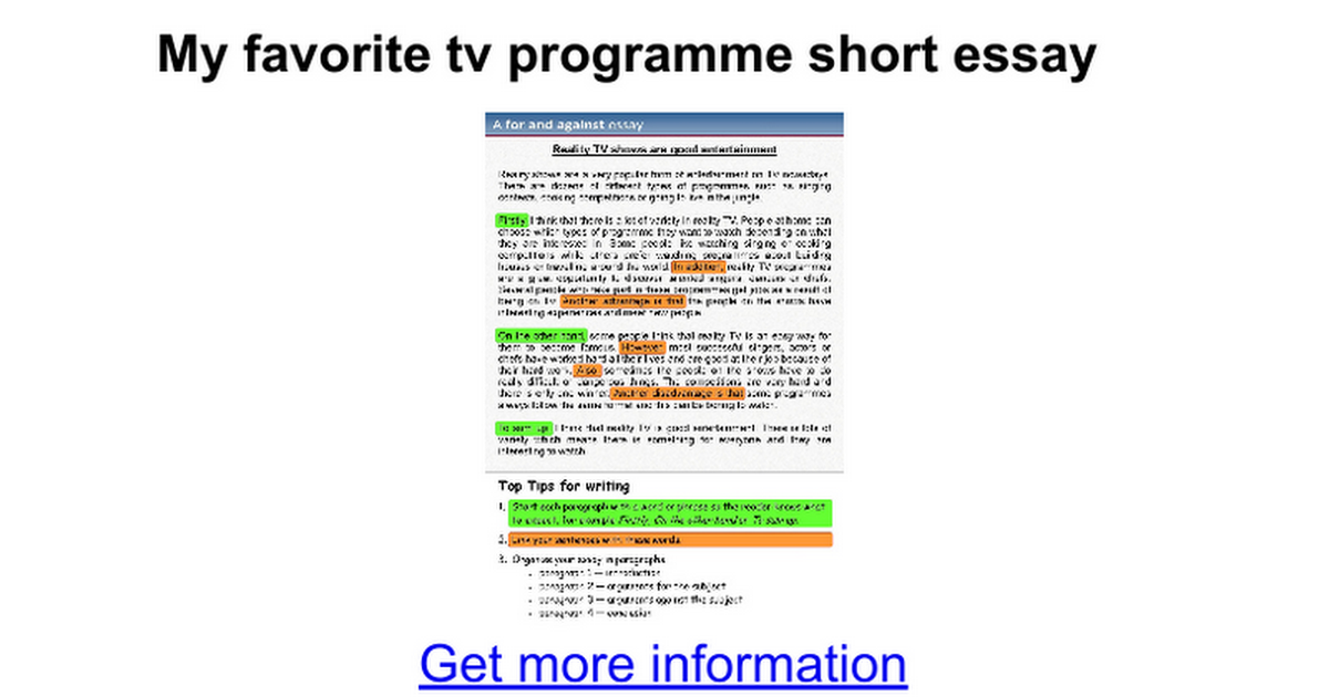 essay on my favourite television programme Favorite tv programme free essay/paragraph and among all the programmes, my favorite tv programme is my favorite season free school/college essay my favorite.