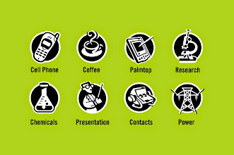 "Photo: General Icons - ""Cell Phone, Coffee, Palmtop, Research, Chemicals, Presentation, Contacts, Power"" - Icon Designs"