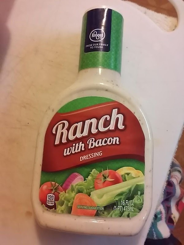 Pour bottle ranch dressing in another shallow dish