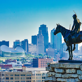 The Kansas City Scout by Travis Wessel - Buildings & Architecture Statues & Monuments ( daytime, statue, scout, skyline, blue sky, kansas city )
