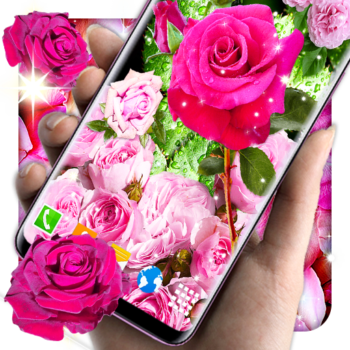 3D Pink Roses Parallax Live Wallpapers