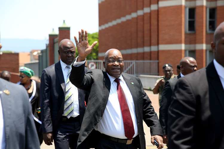 Former president Jacob Zuma leaves the Pietermaritzburg High Court in 2018.