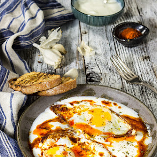 Eggs In Garlicky Yogurt {butter Paprika Sauce + Feta Cheese}