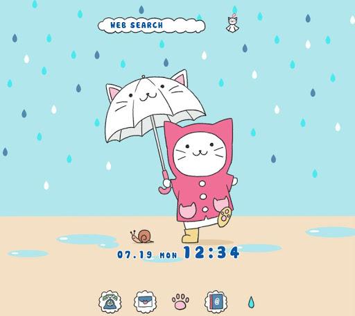 雨の日の猫ちゃん 壁紙きせかえ