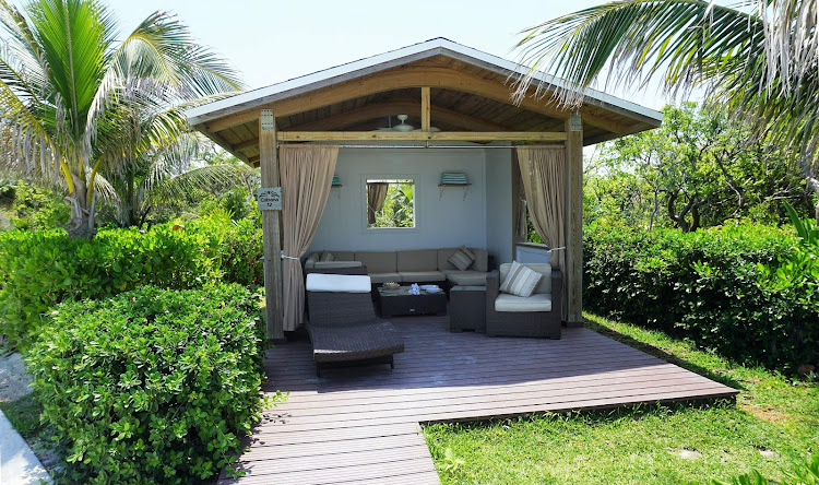 A cabana, available for an extra fee, at Great Stirrup Cay in the Bahamas, the private island run by Norwegian.