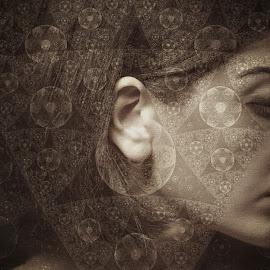 complex by Kathleen Devai - Digital Art People ( sepia, pattern, woman, hair )