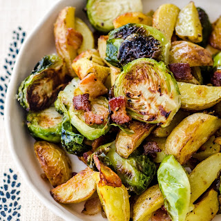 Roasted Potatoes with Bacon & Brussels Sprouts.