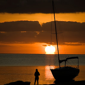 Monkey Mia Sunrise by William Greenfield - Landscapes Sunsets & Sunrises ( silhouette, beach, sunrise, boat, monkey mia, sun )