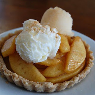 Apple Tarts with Quince Sorbet and Creme Fraiche Ice Cream