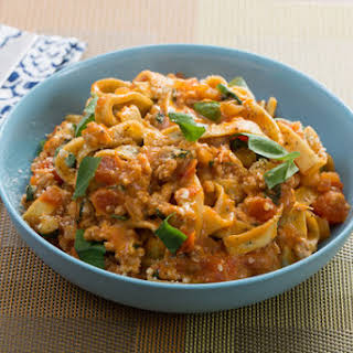 Chicken & Basil Fettuccine Pasta with Mascarpone & Plum Tomatoes.