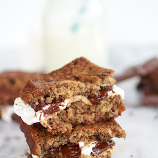 Grilled Banana Bread Peanut Butter S'more with Vanilla Marshmallows.