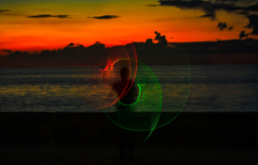 by Don Kuhnle - Abstract Light Painting ( hoola hoop, light, night, colors )