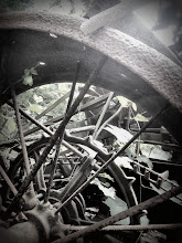 Photo: Old, rusted metal at the machine graveyard in Carriage Hill Metropark at Dayton, Ohio.