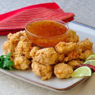 Double Crunch Popcorn Shrimp with Chili Lime Dipping Sauce.