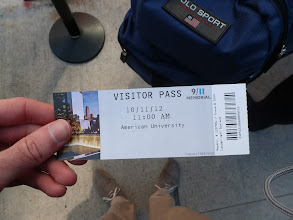 Photo: Our ticket to the 9/11 Memorial.
