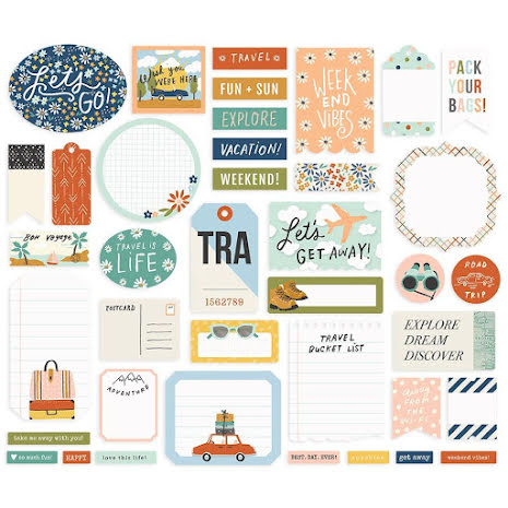 Simple Stories Bits & Pieces Die-Cuts 39/Pkg - Safe Travels Journal