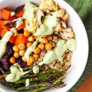 Vegan Quinoa Power Bowls with Roasted Veggies and Avocado Sauce {Gluten-Free}.