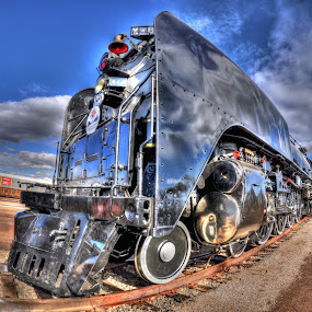 Union Pacific Engine No. 844 by Stephen Botel - Transportation Trains ( clouds, hdr, engine, steam train, locomotive, railroad, arizona, union pacific, phoenix )