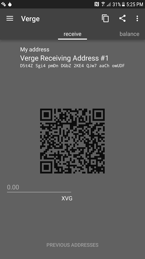 Verge Tor Wallet for Android- screenshot