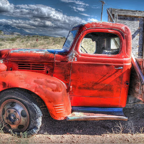 Old Red Dodge by Stephen Botel - Transportation Automobiles ( clouds, mountains, utah, truck, scenic, landscape )