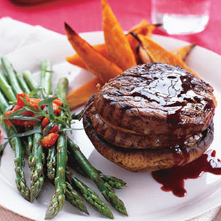 Filet Mignon and Sweet Potato Fries With Asparagus and Red Pepper