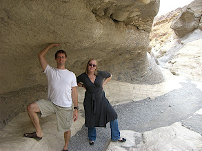 Photo: holding up the wall of Mosaic Canyon