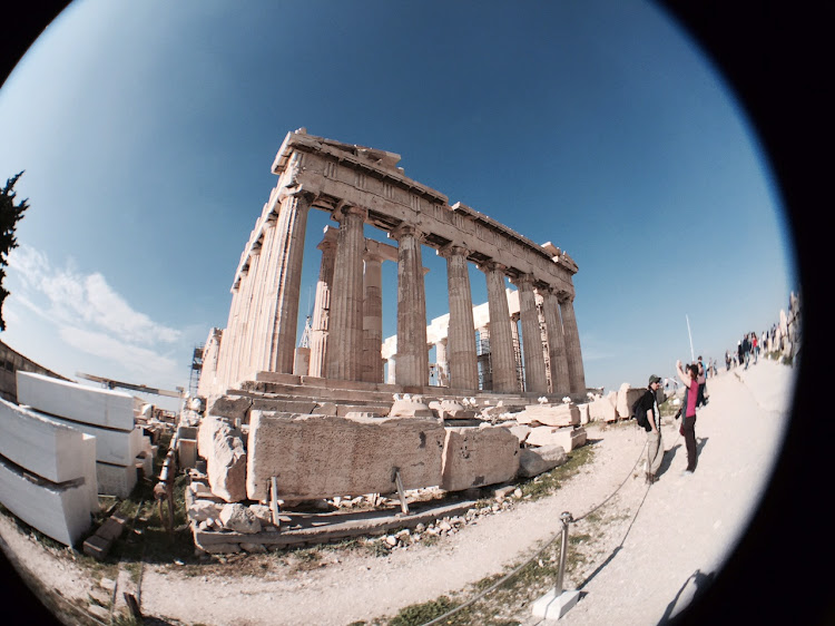 A shot of the Parthenon in Athens using the Olloclip fisheye lens.