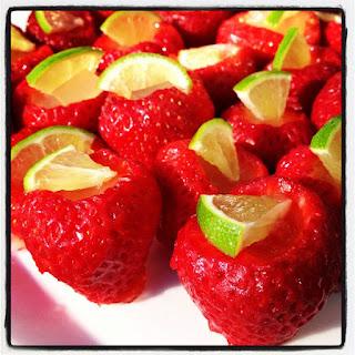 Strawberry Lime Margarita Jello Shots.