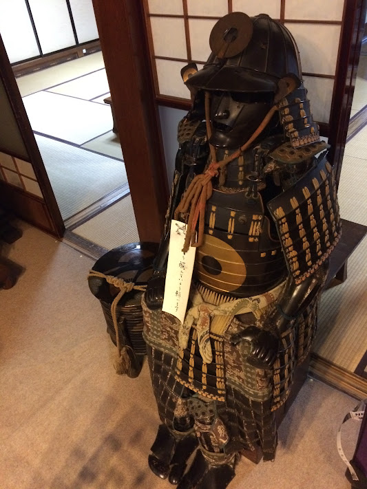 Antique samurai armour at Sumiyoshi Ryokan