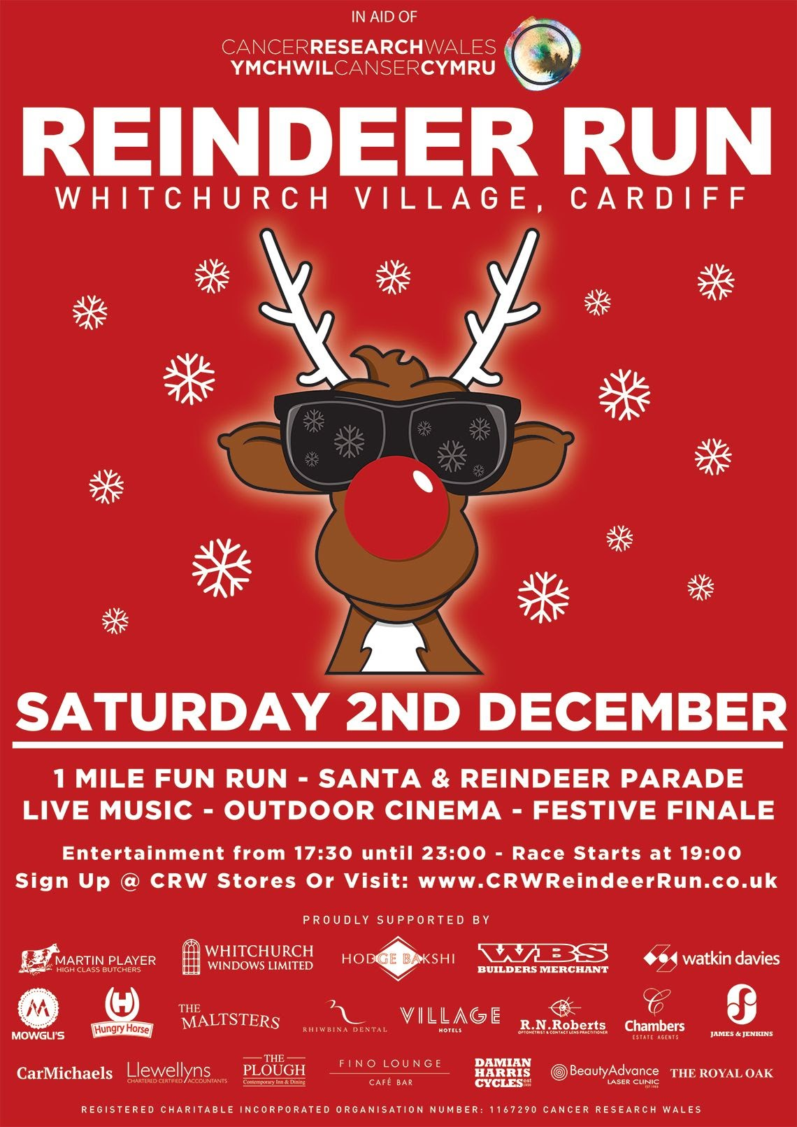 Cancer Research Wales Reindeer Run 2017 Poster