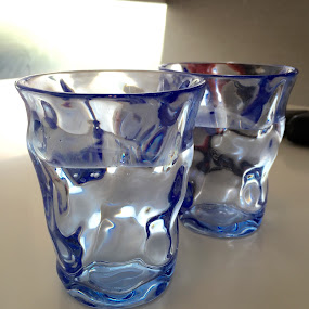 Glasses by Alice Chia - Artistic Objects Glass ( water, two, glasses, pair, blue,  )