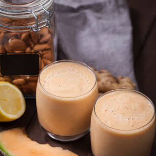 An Energizing Cantaloupe-Ginger Smoothie with Fresh Almonds.