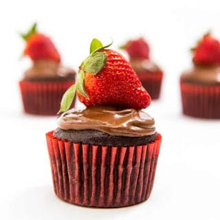 Chocolate Hazelnut Strawberry Cupcakes.