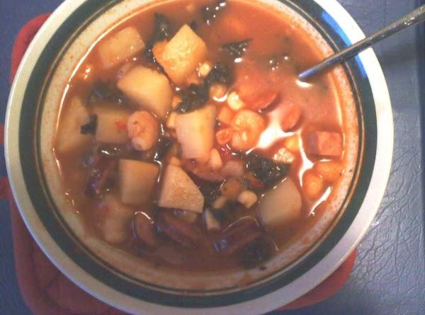 Cajun Style Potato & Corn Soup This version has andouille sausage, ham, shrimp and kale in it.