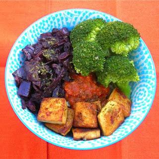 Smoked Maple Tofu Rice Bowl with Smoked Tomato Sauce.