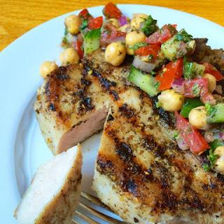 Za'atar Crusted Grilled Pork Chops.
