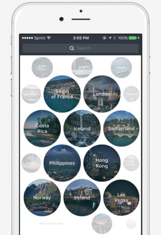 The Facet app: Discover travel-worthy destinations through user videos.