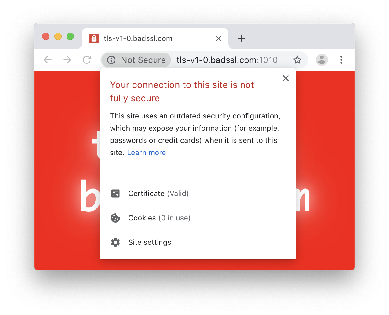 Chrome UI for Deprecating Legacy TLS Versions
