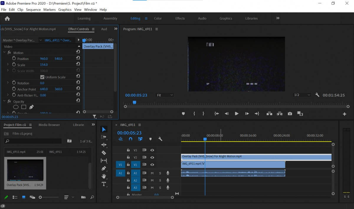 tạo hiệu ứng film cũ trong Adobe Premiere