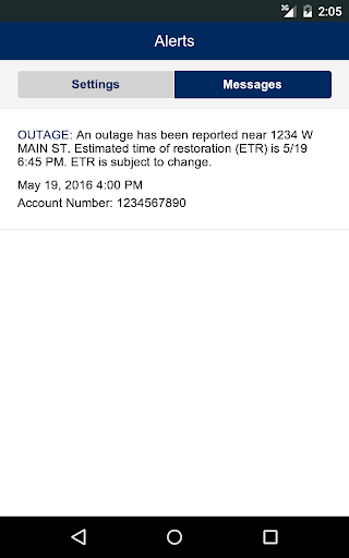 Avista Outage Mobile App Screenshot