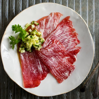 Salmon or Tuna Carpaccio with Wasabi Sauce