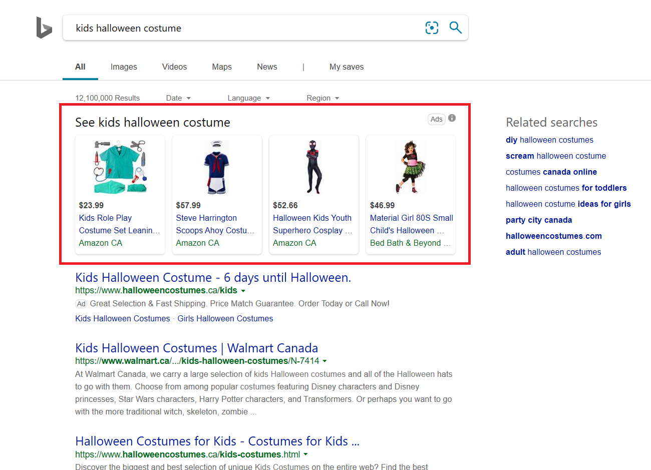 "Bing search results page for ""kids halloween costume"" showing pictures of costumes."