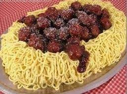 Meatballs on Spaghetti Cake