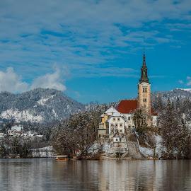 by Mario Horvat - Buildings & Architecture Public & Historical ( water, sneg, touristic, winter, slovenija, church, snow, slovenia, bled, lake, travel, jezero, island )