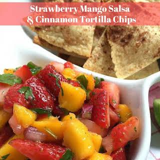Strawberry-Mango Salsa with Cinnamon Tortilla Chips.